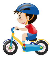 Boy on bike wearing blue helmet