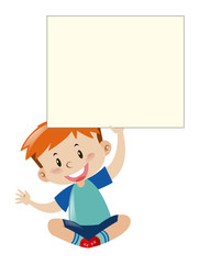 Little boy and giant white paper