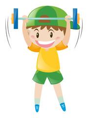 Little boy doing weightlifting
