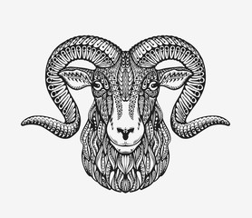 Sheep, ram or mountain goat. Animal decorated with ethnic patterns. Vector illustration