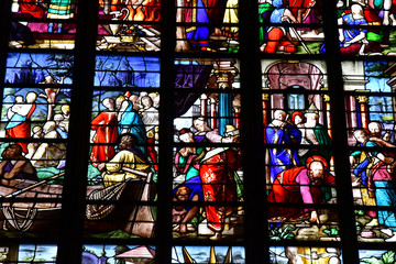 Bernay, France - august 11 2016 : Sainte Croix church