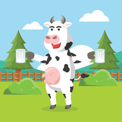 cow holding milk vector illustration design