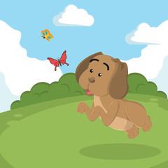 puppy chasing butterflies vector illustration design