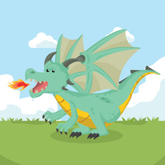 angry dragon vector illustration design