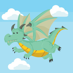 dragon flying vector illustration design