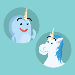 narwhal and unicorn vector illustration design