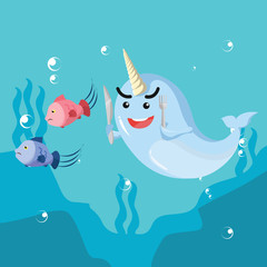 narwhal hunting fish vector illustration design