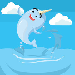 narwhal jumping vector illustration design