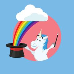 unicorn doing magic vector illustration design