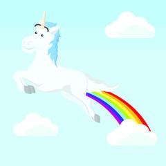 unicorn flying with rainbow