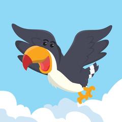 toucan flying vector illustration design