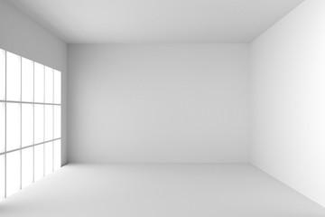 Empty Room Interior White Background. 3d Render Illustration.