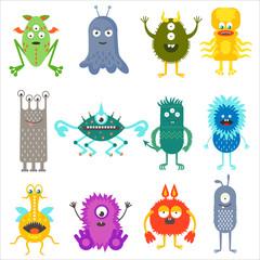 Cartoon cute color animals monsters aliens set