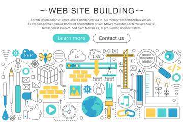 Vector elegant thin line flat modern website building concept. Website header banner elements layout. Presentation, flyer and poster.