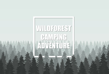 Musterious coniferous wildforest adventure camping silhouette template concept. Vector illustration.