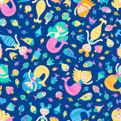 Vector seamless pattern with cute flat mermaid and fish. Cartoon sea girl with doodle ornament. Nice childish background for your design. Light colors marine elements on blue backdrop.