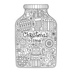 Christmas Jar Vector Hand Drawn With Doodle Elements Winter Objects