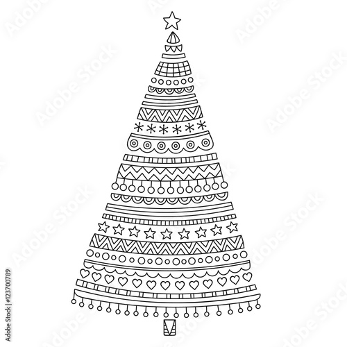 Christmas tree Hand drawn doodle christmas spruce with stars