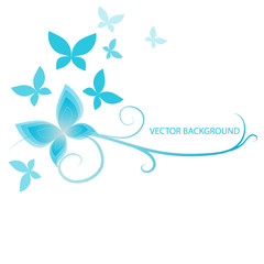 background with  blue butterflies, vector