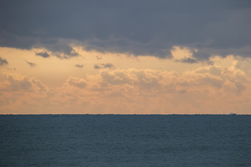 cloudy sky at sea in winter