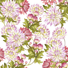 Watercolor seamless pattern with chrysanthemums