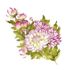 Image bouquet of chrysanthemum. Watercolor