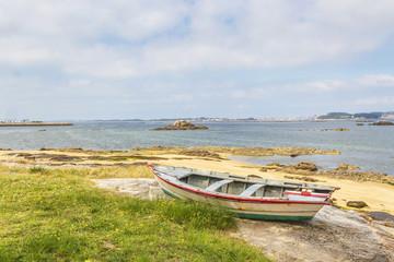 Fishing boat ashore