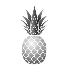 Pineapple silver icon. Tropical fruit isolated on white background. Symbol of food, sweet, exotic and summer, vitamin, healthy. Nature logo. 3D concept. Design element Vector illustration