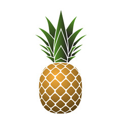 Pineapple with leaf icon. Tropical fruit isolated on white background. Symbol of food, sweet, exotic and summer, vitamin, healthy. Nature logo. 3D concept. Design element Vector illustration
