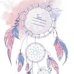 Dreamcatcher, Set of ornaments, feathers and beads. Native american indian dream catcher, traditional symbol. Feathers and beads on white background. Color rose quartz, serenity.