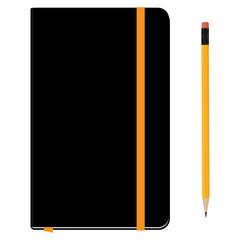 Notebook moleskin and pencil