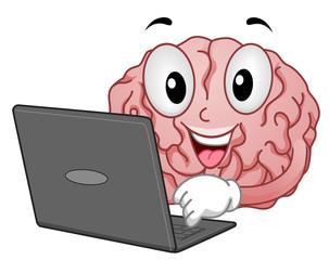 Mascot Brain Laptop