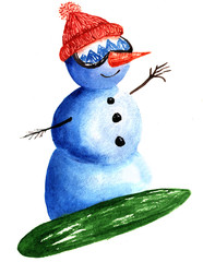 Snowman skiing on snowboard, watercolor hand drawn illustration