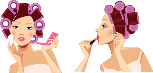 beauty face girl with hair rollers, face woman, profile face, curlers rollers in hair, makeup