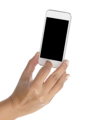 Female hand taking photo with smart phone isolated on white background.
