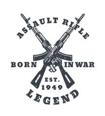 born in war, t-shirt print with assault rifles, guns