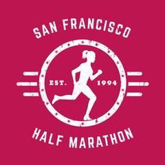 Half Marathon vintage logo, t-shirt print with running girl on red