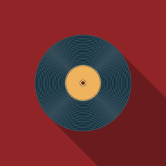 Flat design vector vinyl record icon with long shadow.