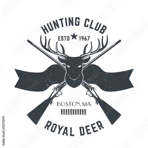 Hunting Logo Vintage Emblem With Deer Head And Two Hunting Rifles