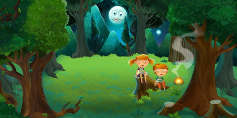 Cartoon colorful scene of forest by night with boy and girl by the fire - illustration for children