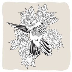 Hand drawn flying humming bird with peony flower. Vector illustration