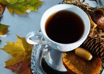 hot tea in autumn days