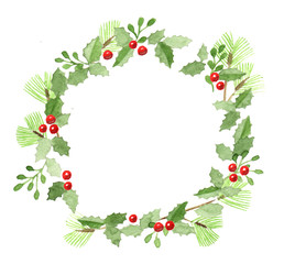 Hand drawn watercolor christmas wreath / frame