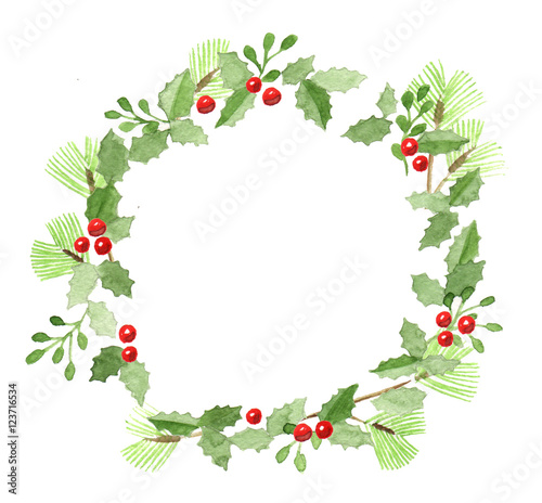 Hand Drawn Watercolor Christmas Wreath Frame Stock Photo And