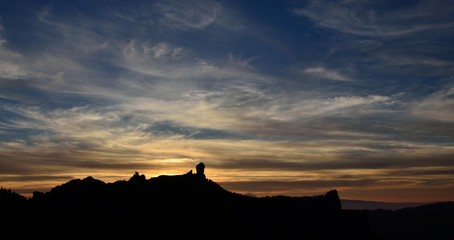 Amazing sky at sunset, summit of Gran canaria, Canary islands