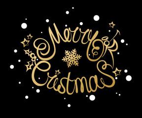 Merry Christmas lettering design. Vector illustration EPS10 format