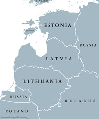 Baltic countries political map, also known as Baltics, Baltic nations or states. Estonia, Latvia and Lithuania with national borders. Gray illustration with English labeling and scaling over white.