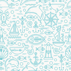 Vector seamless pattern with outlined seafaring and nautical signs.