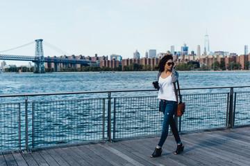 Young Beautiful Latin Woman Walking in Brooklyn New York City