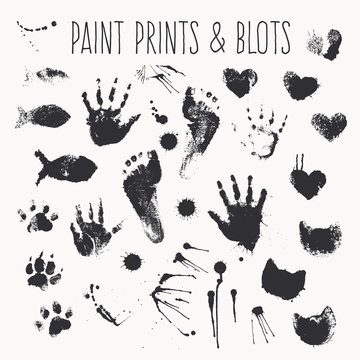 Vector collection of paint prints - footsteps, pawprints, palms, shapes of hearts, cat fish, inkblots